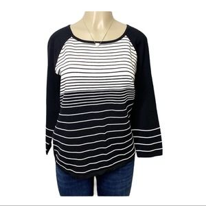 CABLE & GAUGE Striped Knit Sweater Black L